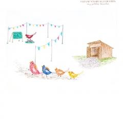 Stefanie-Scharl-Illustration-Hühner-Schule