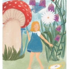 Stefanie-Scharl-Illustration-Kinderbuch-Alice-Märchen-Blumen-Wiese