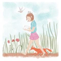 Stefanie-Scharl-Illustration-Kinderbuch-Mädchen-Lesen-Tiere