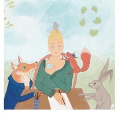 Stefanie-Scharl-Illustration-Kinderbuch-Märchen-Fuchs-Eichhörnchen-Hase