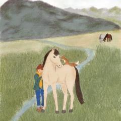 Stefanie-Scharl-Illustration-Kinderbuch-Pferde-Mädchen-Freundschaft